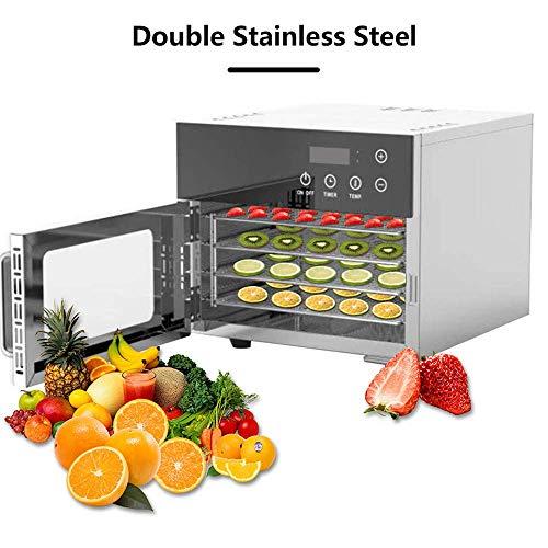 PLEASUR Doppelter Edelstahl-Dörrgerät, 4 Tabletts Digitaler Obsttrockner Einstellbarer Timer | Temperaturregelung 30~90 ℃ | Trockner für Trockenfleisch, Kräuter, Fleisch, Rindfleisch, Obst und Gemüse