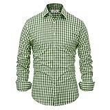 Paul Jones Casual Long-Sleeve Plaid Dress Shirt Checkered Button Down Shirt, Olive Green, XX-Large