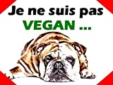 creosoleil Plaque Aluminium Attention Chien Bouledogue Anglais Bulldog Humour Vegan 15x20cm