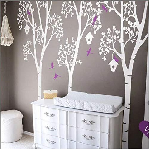 Zxdcd grote boomkwekerij muursticker bomen met vogels en bladeren muur Vinyl Decal bomen en vogelhuisjes muur muurschildering Kid kamer Decor cm