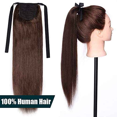Elailite Coda Capelli Veri Extension con Clip 50cm #4 Marrone Cioccolato - Remy Human Hair Ponytail Cavallo Tie Up Fascia Unica Clip in Hair Naturali Lisci 95g