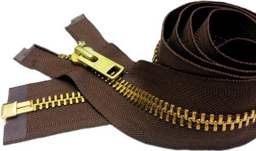 YKK Sale 22' Extra Heavy Duty Jacket Zipper (Special Custom) YKK #10 Brass Separating ~ Color 568 Seal Brown (1 Zipper/Pack)