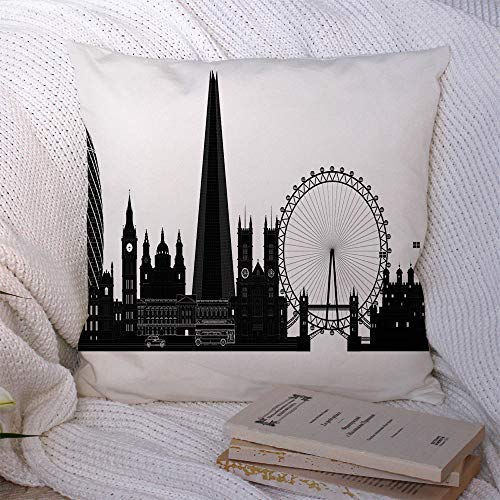 Decorative Pillow Covers Polyester Vacation London Tower Panorama City Skyline Silhouette View Graphic Landmarks Urban Miscellaneous Cushion Throw Pillow Case for Couch Home Car Decor 20x20 Inch