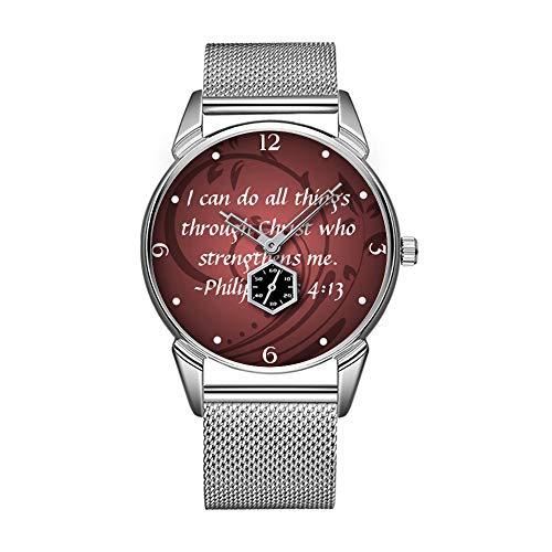 Mode wasserdicht Uhr minimalistischen Persönlichkeit Muster Uhr -668. Philipper 413 Christliche Bibel Verse