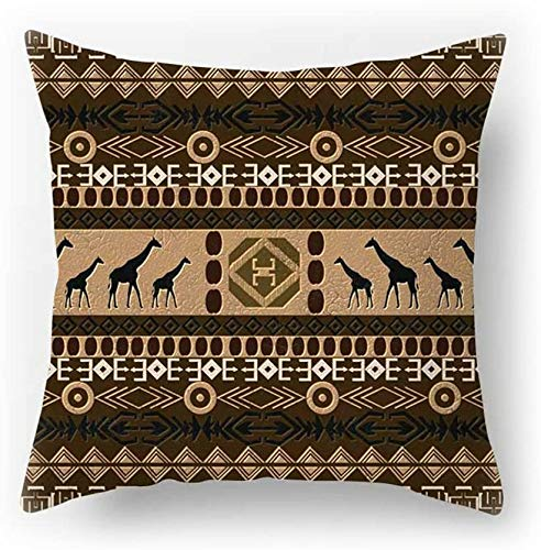 Harla Brown Cushion Cover Lion Elephant Giraffe Printing Double-sided Cotton Linen Pillowcase 45cm x 45cm(18 x 18 inch)