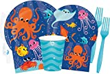 Ocean Party Supplies and Decorations - Ocean Party Plates and Napkins Cups & Forks for 16 People - Perfect Under The Sea Birthday Party Decorations and Underwater Birthday Party Supplies!