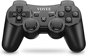 VOYEE Wireless Controller Gamepad with Upgraded Joystick/Battery/Motors/Charging Cable Compatible with Sony Playstation 3 (Black)