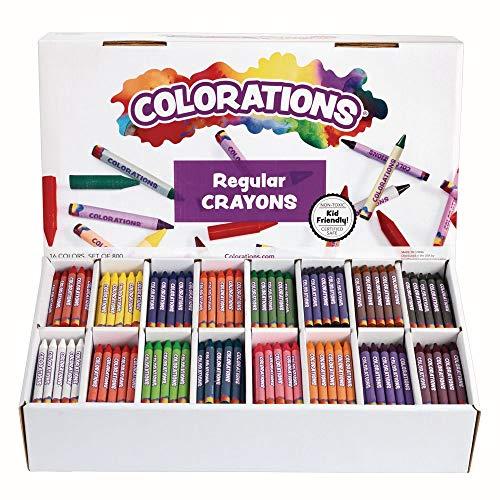 Colorations Regular Crayons Classroom Set 16 Colors 800 Crayons, Orange (CRRGSIXT)
