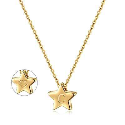 Turandoss Letter Initial Necklaces for Women - ...