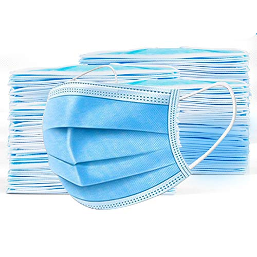 Disposable Face Masks Blue Facemask Face Shield Filter Mask Protective 3-Ply Breathable Comfortable Nose/Mouth Coverings for Home & Office (50PCS, Adult Blue)