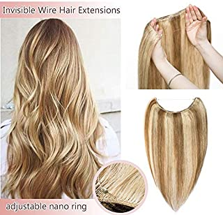 Hidden Invisible Crown Human Hair Extensions One Piece Secret Miracle Wire In Hairpiece With Transparent Fish Line Headband No Clips No Tape #12P613 Golden Brown&Bleach Blonde 18''65g