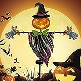 Brwoynn Solar Halloween Yard Decorations, Outdoor LED Solar Powered Pumpkin Ghost Stakes Halloween Outdoor Decorations, Metal Garden Stakes Lawn Yard Ornament