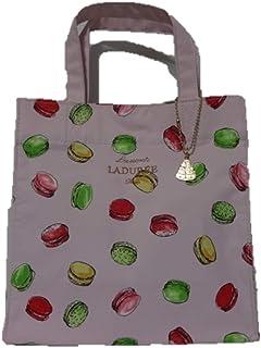 [スクレ・ラデュレ] LADUREE マカロン柄 ロゴ入り チャーム付き トートバッグ M (ピンク)