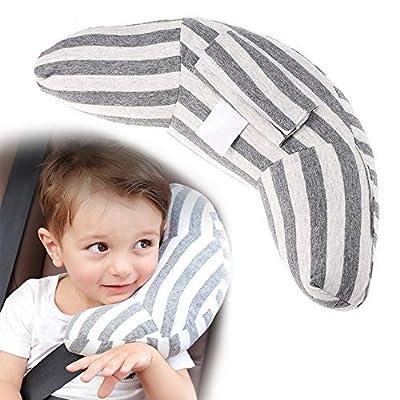 VANDA Almohada para Bebé - Sujeta la Cabeza de Niños en Coche y Carrito 2 en 1 Reposacabezas Coche y Protector Cinturón Seguridad para Bebés y Niños Accesorios Coche Niños (Gris)