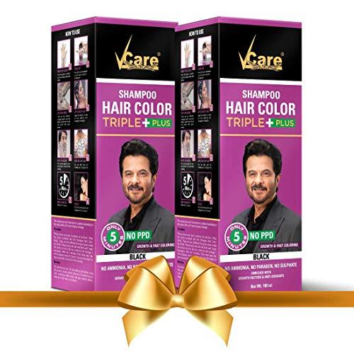 VCare Shampoo Hair Color, Black, 180 ml, (Pack Of 2)