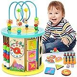WloveTravel Cube d'activités en Bois Labyrinthe de Perles 10 en 1 Jouets éducatifs Polyvalents pour Bébé Enfants Enfants Tout-Petits