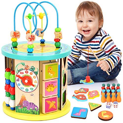 WloveTravel Aktivitätswürfel Holz Motorikwürfel Wooden Activity Cube Bead Maze 10 in 1 Mehrzweck-Lernspielzeug für Baby Kinder Kinder Kleinkinder