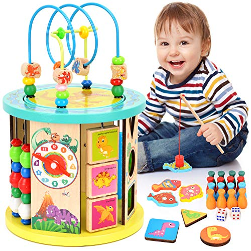 WloveTravel Wooden Activity Cube Bead Maze 10 in 1 Multi-purpose Educational...