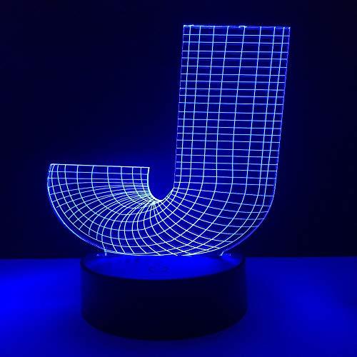 Luz de la noche de la lámpara de la ilusión llevada 3d de wangZJ/luz de la noche para los niños/luz de 7 colores para las muchachas/regalo del día de los niños/letra J del alfabeto