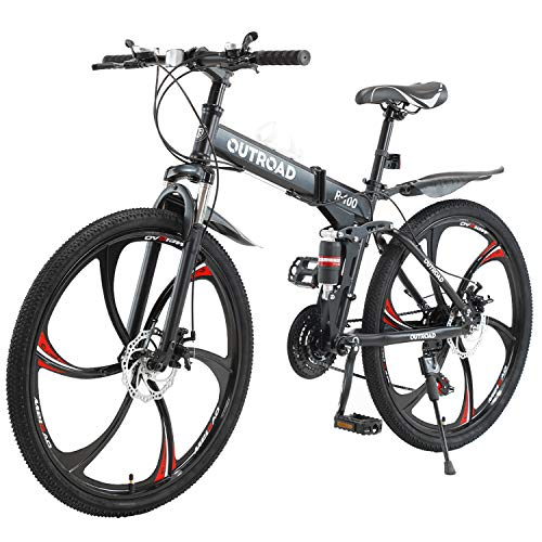 PanAme 26 Inches Folding Mountain Bikes, 21 Speed 6-Spoke Shining SYS Double Disc Brake, Full Suspension Anti-Slip Bicycle for Man/Woman/Teen, Black