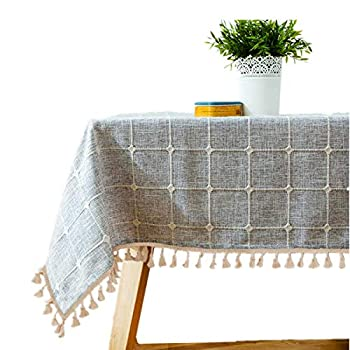 Bettery Home Cotton Linen Rectangular Tablecloth Tassel Plaid Table Cloth for Dining Kitchen Room Tabletop Decoration 36  x 52