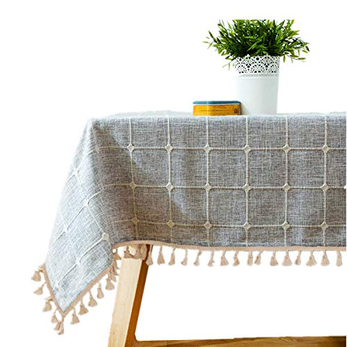 De batterie Home en coton et lin Nappe Carré Tassel Plaid Nappe de cuisine salle à manger salle de table Décoration, 132,1 x 132,1 cm 36\