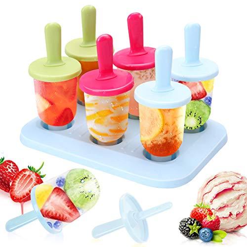 Eisform, 6 Eis am Stiel Formen Mini DIY Ice Pop Lolly Popsicle Eisförmchen Eisformen Popsicle Formen Set Wiederverwendbar Popsicle Sticks LFGB Geprüft und BPA Frei, 3 Farben