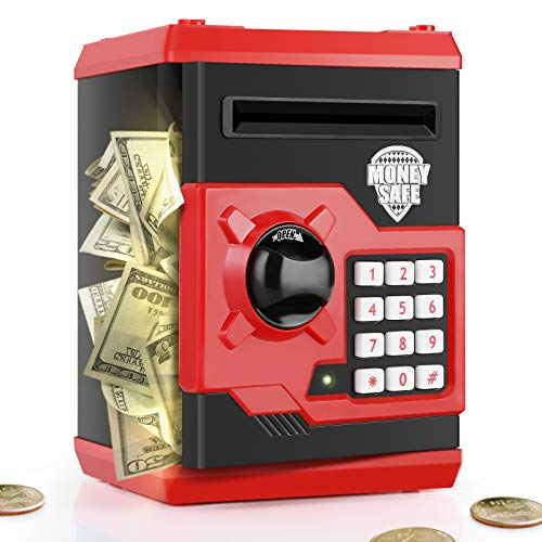PLAYSHEEK Piggy Bank for Girls Boys Large Electronic Money Coin Banks with Password Protection, Automatic Paper Money Scroll Saving Box, Great Gift for Kids (Black-Red)