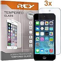 REY 3X Protector de Pantalla para iPod Touch 5/6 y iPod 7 2019, Cristal Vidrio Templado Premium