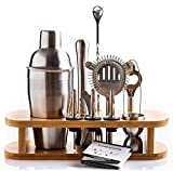 Cresimo Cocktail Shaker Bar Set - Brushed Stainless Steel 12 Piece Professional Bar Tool Kit for the Home - Includes Martini Shaker, Muddler, Jigger, Bamboo Wood Stand and More!