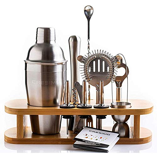Cresimo Cocktail Shaker Bar Set  Brushed Stainless Steel 12 Piece Professional Bar Tool Kit for the Home  Includes Martini Shaker Muddler Jigger Bamboo Wood Stand and More
