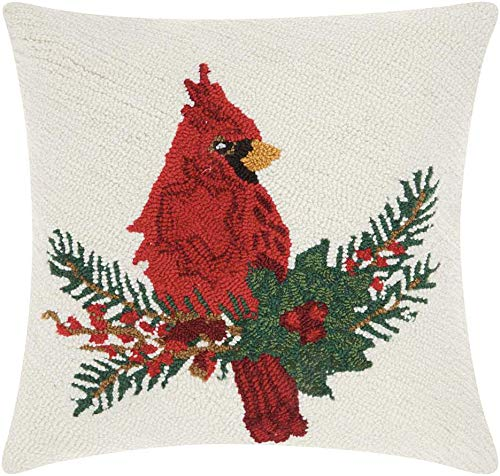 "Mina Victory Home Snowing Cardinal On Holly Multicolor Holiday Throw Pillow, 18"" x 18"""