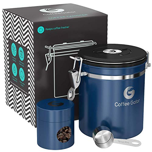Coffee Gator - Fresher Beans and Grounds for Longer - Stainless Steel Container Canister with co2 Valve, Scoop and Travel Jar - Medium, Blue
