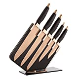Tower Kitchen Knife Set with Acrylic Knife Block, Damascus Effect, Stainless Steel Blades, Rose Gold and Black, 5 Pieces