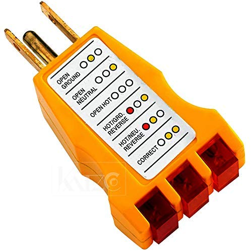 Receptacle Tester - Ideal for 110-125 Vac 3 Wire Receptacles. Tester Indicates Open Ground Open Hot Open Neutral Hot and Ground Reverse Hot and Neutral Reverse and Correct