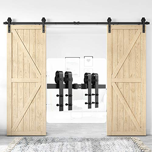 Homlux 10ft Heavy Duty Sturdy Sliding Barn Door Hardware Kit Double Door - Smoothly and Quietly - Simple and Easy to Install - Fit 1 3/8-1 3/4' Thickness Door Panel(Black)(J Shape Hangers)