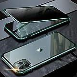 iPhone 11 ケース 覗見防止 両面ガラス 対応 360°全面保護 OURJOY iPhone11 アルミ バンパー ケース マグネット式 磁石 磁気接続 スマホケース 耐衝撃 アイフォン 11 ケース クリア (iPhone 11 ミッドナイトグリーン)