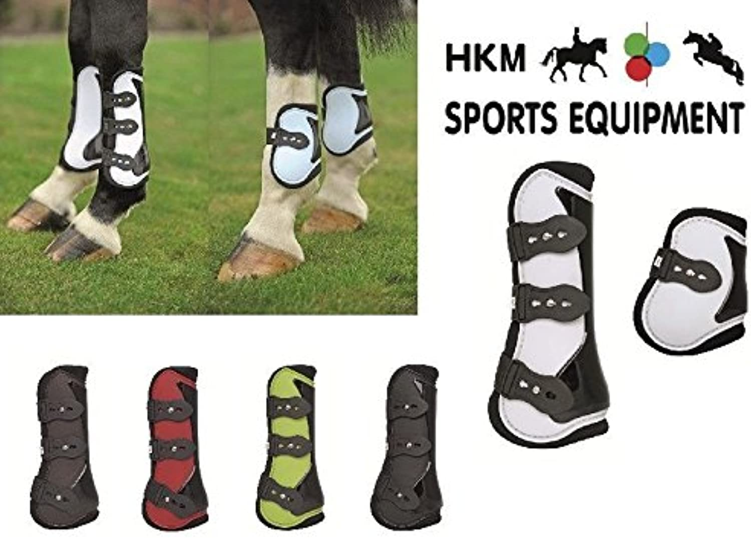 HKM Set Of 4 Tendon & Fetlock Boots New Red Black Full
