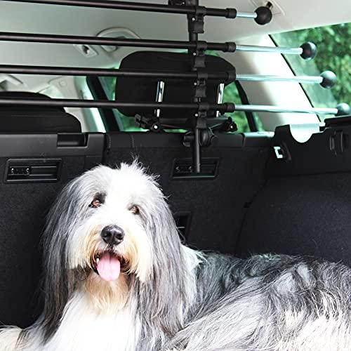 JOM Car Parts & Car Hifi GmbH 127503 Gepäckraumgitter Kofferraum Universal Teleskopstangen Trenngitter für Hunde Auto, SUV Schutzgitter Hundegitter für den sicheren Transport