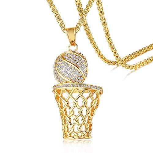 JJXDP Halskette Basketballkorb Anhänger Herren Halskette Mit 24
