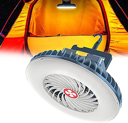 WXking 2 en 1 linterna de camping, ventilador de techo superbrillante con gancho colgante y USB recargable para camping, pesca, tiendas de campaña, cochecito de bebé,