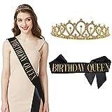 'Birthday Queen' Sash & Rhinestone Tiara Set - Birthday Sash Birthday Gifts Birthday Party Favors (Black/Gold)
