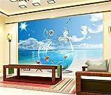 Papel Pintado De Foto 3D Personalizado Mural Sala Cocina Impermeable Pared De Fondo Sala De Estar Dormitorio Decoración Del Hogar-Acuario De Peces Con Vistas Al Mar(200x150CM)