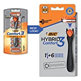 BIC Comfort 3 Hybrid Men's Disposable Razor, 3 Blades, 6 Cartridges and 1 Handle, Black, For a Close and Comfortable Shave