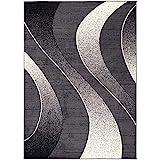 Alfombra Salon Grande Pelo Corto - Moderno Diseño Geométrico - Alfombra Cocina Habitación Dormitorio Comedor Gris Oscuro 300 x 400 cm