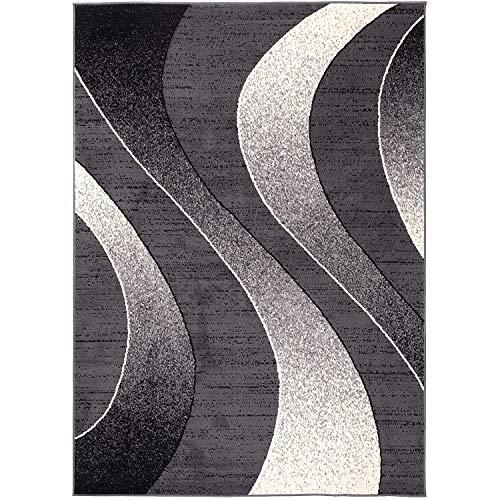 Alfombra Salon Grande Pelo Corto - Moderno Diseño Geométrico - Alfombra Cocina Habitación Dormitorio Comedor Gris Oscuro 160 x 220 cm