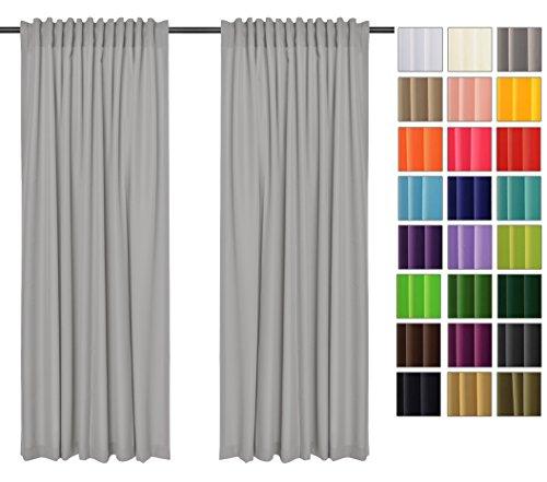 Rollmayer Vorhänge mit Tunnelband Kollektion Vivid (Silbergrau 31, 135x215 cm - BxH) Blickdicht Uni einfarbig Gardinen Schal für Schlafzimmer Kinderzimmer Wohnzimmer
