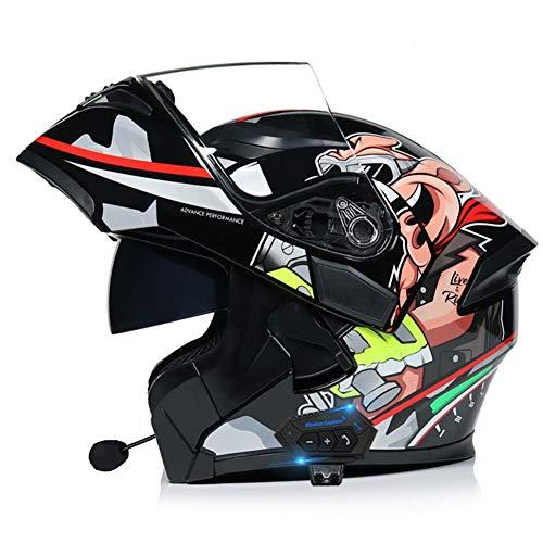 AI FAN Casco Modular Bluetooth de la Motocicleta,Racing Winderproof Casco Aprobado por el Dot/ECE,Doble Visera Cascos Abatibles(55~66cm)
