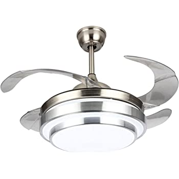 Amazon Com A Million 42 Modern Ceiling Light With Fans Led Chandelier Remote Control Retractable Blades Three Speeds Three Color Changes Lighting Fixture Silver Color With Silent Motor 42 Classic Kitchen Dining