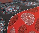 Bettwäsche 2 Teilig, Renforce-Baumwolle, Reißverschluss, 155x220 cm, Rot Grau, Mandala Boho - 3
